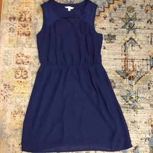 Blue Dress with velvet accents